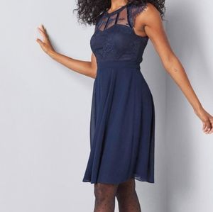 Modcloth Navy Sophisticated Spin Lace A-Line Dress